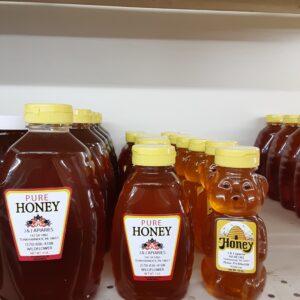 Bottles of pure honey